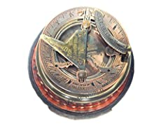 "3"" inches solid brass sundial compass, fully functional compass. Fully functional compass correct show the north,Sundial is also working fully working sundial compass comes along with pure leather box. compass size-3""/3""/2"""