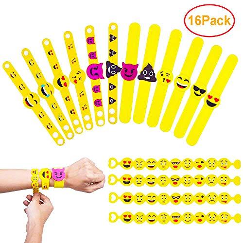 QMay Braccialetti Slap Emoji Gomma Bracciale, Novità Wristband Toy Emoji Bracciali di Gomma, Braccialetti in Gomma per Regalino Festa Compleanno(3 Style)