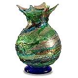 YourMurano - Jarrón de cristal de Murano original, color verde, pieza italiana auténtica, jarrón de cristal hecho a mano, 100% marca de origen garantizada, LAGUNA