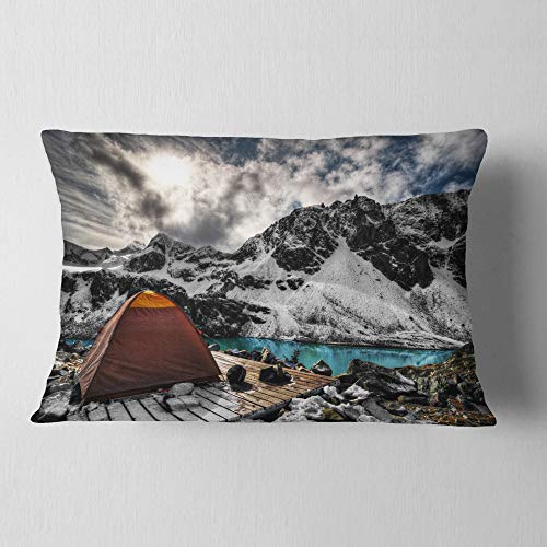 Designart Campsite Above Turquoise Lake Landscape Printed Throw Lumbar Cushion Pillow Cover For Living Room Sofa 12 In X 20 In Shefinds