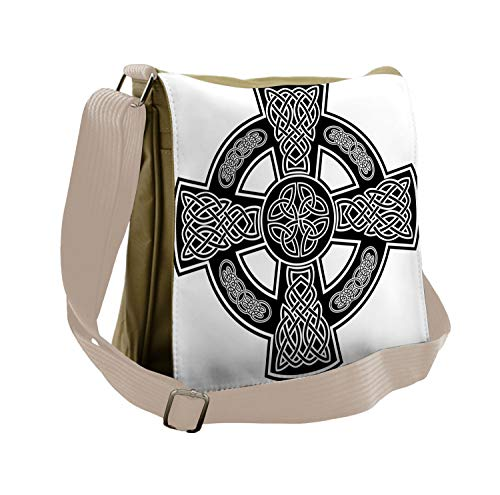 Lunarable Celtic Messenger Bag, Classic Form Linked Lines, Unisex Cross-body