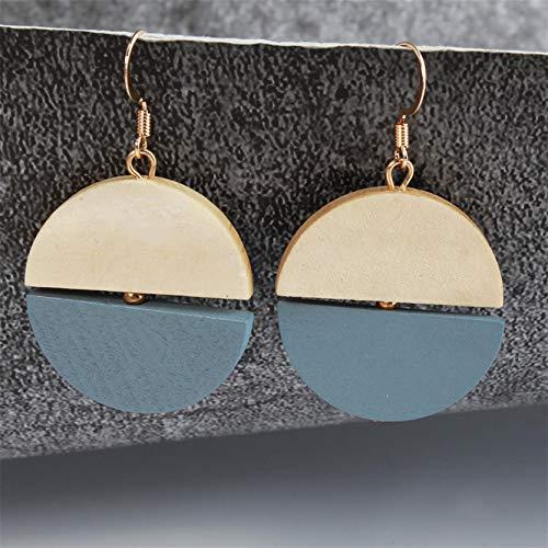 MAJFK Pendientes para mujer, pendientes de plata para ella, pendientes de plata con diseño geométrico, simple personalidad, retro, pendientes de perlas y diamantes de imitación de agua dulce, azul