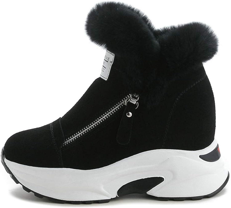 York Zhu Winter Boots for Women Plush Fur Lined in Side Zipper Fashion Sneakers