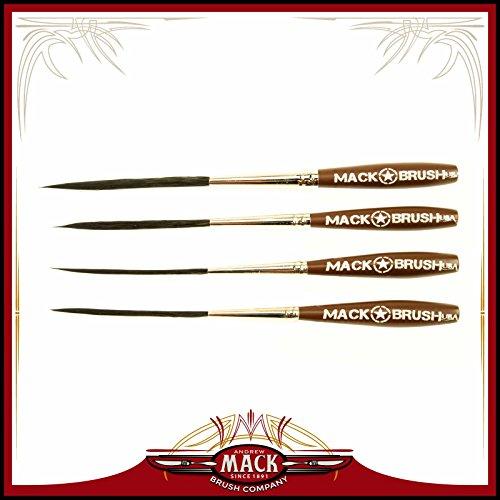"Set of 4 Sizes 000-2 Series Long Bob Pinstriping Scrolling Brush Black Synthetic & Blue Squirrel 1 3/4"" Hair Length"