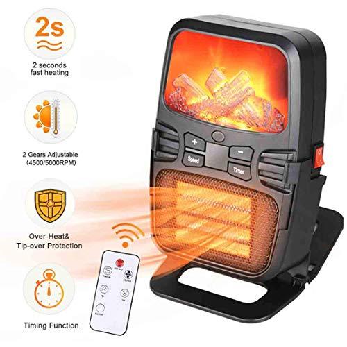 Elektrische mini-verwarming, elektrische verwarming, voor stopcontacten, met thermostaat en timer, snelverwarming, keramiek, mini-verwarming, instant heater, 1000 W