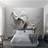 Iusasdz カスタム壁布3Dエンボス抽象美容フィギュア壁紙壁画リビングルーム寝室壁家の装飾アート3D-350X250Cm