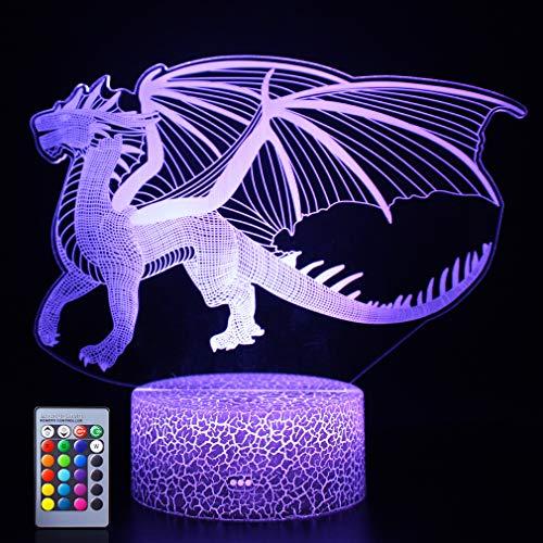 Dragon 3D Night Light Dragon for Kids Boys and Girls as on Birthdays or Holidays Christmas (Dragon)