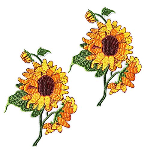 2 Pcs Delicate Embroidered Patches, Van Gogh Sunflower Embroidery Patches, Iron On Patches, Sew On Applique Patch,Cool Patches for Men, Women, Boys, Girls, Kids