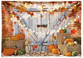 Funnytree 7x5FT Soft Fabric Fall Thanksgiving Photography Backdrop Autumn Pumpkin Harvest Barn Background Maple Baby Shower Banner Decoration Birthday Party Supplies Photo Booth Prop