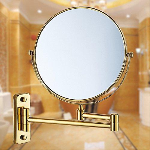 MIWANG Les salles de Bains sont Un Miroir d'or Miroir de rétroviseur Rabattable WC Extension Recto Verso Anciens agrandir Le Miroir de courtoisie, 8 Pouce