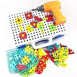 QYHSS 151Pcs 3D Puzzle Kinder Mosaik Steckspiel Bausteine, mit Schraubendreher Schrauben Pädagogisches Spielzeug Geschenkset, für Kinder Junge ab 3-5 Jahre