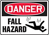 Accuform Signs MCRT147VP Plastic Safety Sign, Legend'Danger Fall Hazard' with Graphic, 7' Length x 10' Width x 0.055' Thickness, Red/Black on White