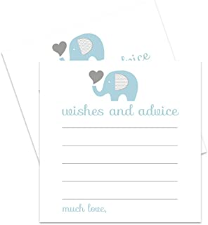 Blue Elephant Advice Cards for Baby Shower or Parties - 25 Pack