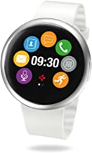 MyKronoz ZeRound2 Smartwatch with Circular Color Touchscreen and Smart Notifications, Swiss Design, iOS and Android - Silver / White