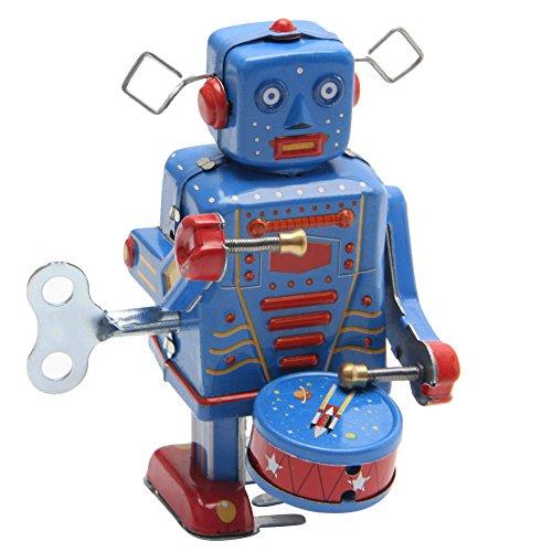 Lamdoo Retro-Roboter mit Uhrwerk zum Aufziehen, Vintage-Stil, Sammlerstück, Geschenk für Kinder