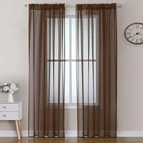 MIULEE Chocolate Linen Textured Sheer Curtain for Bedroom/Living Room Semi Transparent Farmhouse Window Net Panels with Rod Pocket 2 Pieces W 54 x L 72 inches Long