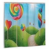 Dfform Duschvorhang,Fantasy Candy Land mit köstlichen Lutschern & Süßigkeiten Sun Cheerful Fun Print,wasserdicht hochwertige Qualität Duschvorhänge inkl 12 Ringe