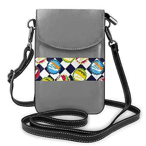 Bolso de cuero para teléfono, tapas de botella de soda azul y blanco, pequeño bolso bandolera para teléfono celular, bolsa de hombro para mujer