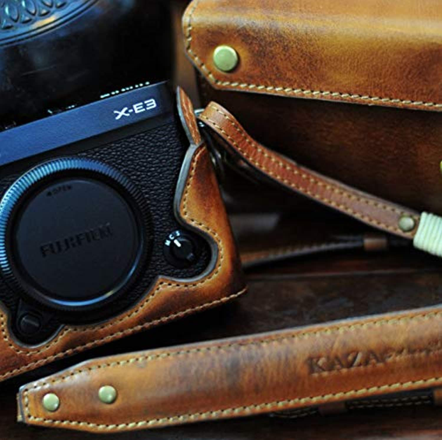 Kaza Combo Set Full Leather Case + Half Leather Case with Strap for Fujifilm XE3 (Vintage Brown)