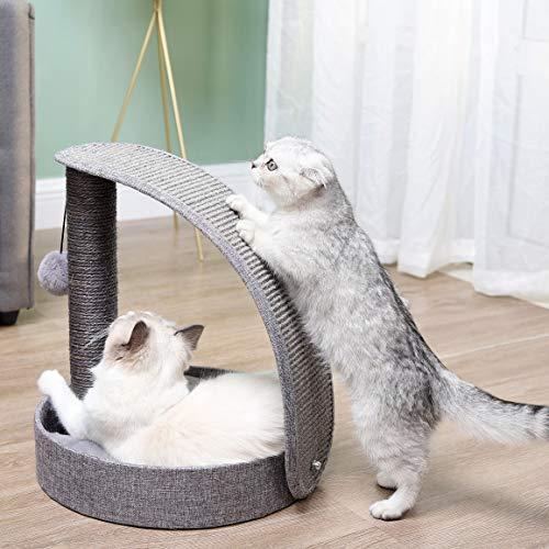 Happi N Pets ist eine fortgeschrittene multifunktionale Katze Greifsäule & Greifplatte, ausgestattet mit großem weichen Katzenbett, Katzenest und interaktiven Spielzeugen für Kätzchen