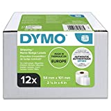 DYMO LW Etichette per Spedizioni Grandi, Autoadesive, per Etichettatrici LabelWriter, Originali, 12 Rotoli da 220 Etichette Facilmente Staccabili, 54 mm x 101 mm