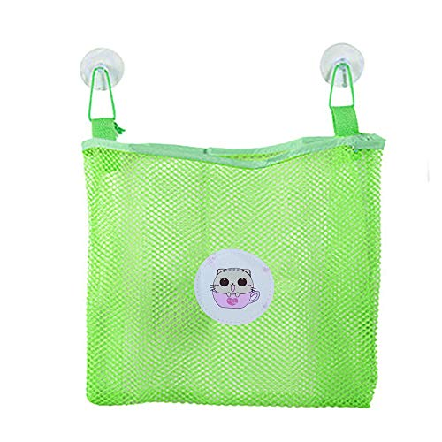 wuliLINL Bath Toy Organizer - Suction Cup Hooks + Adhesive Hooks - Mesh Bag Mould Free Shower Caddy (Green)