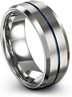 Tungsten Carbide Wedding Band Ring 8mm for Men Women Green Red Blue Purple Black Fuchsia Copper Teal Center Line Beveled Edge Brushed Polished