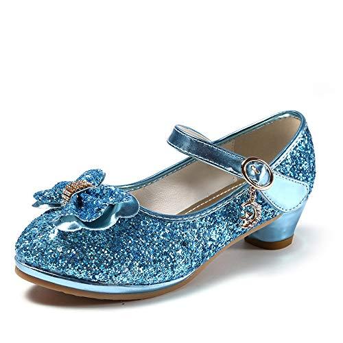 Mädchen Prinzessin High Heel Schuhe Kinder Party Pumps 28 EU/Etikettengröße 29 Blau