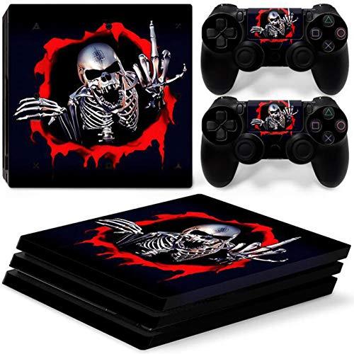 YWZQ Crâne Horror Skull Viny Sticker Sticker pour la Console PS4 Pro + 2 Sticker de la Peau Controller pour Playstation 4 Pro Accessoires de Jeu,E
