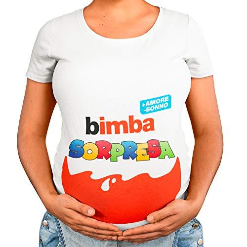T-Shirt Maglia Premaman Bimbo Bimba Sorpresa, Idea Regalo per Futura Mamma, Manica Corta (Bianco Femminuccia, M)