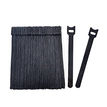 Vancool 70 PCS Cable Management Reusable Fastening Cable Ties Organizer 6-Inch Hook & Loop Adjustable Wire Cable Straps for Cable Under Desk,Cord Management,Black