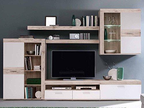 möbelando Wohnwand Mediawand Schrankwand TV-Wand Anbauwand Wohnzimmerwand Aguste I Sandeiche/Weiß