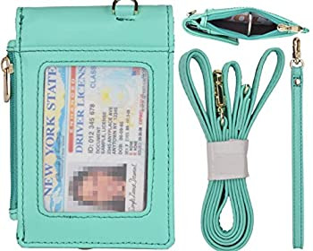 Beurlike Leather 2-Sided ID Badge Holder Wallet with 1 ID Window 3 Card Slots with Cover 1 Side Zipper Coin Pocket 1 Piece 18.1 Neck Lanyard and 1 Piece 6 Hand Wristlet Teal