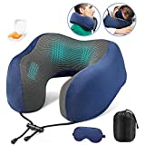 Paitree Neck Pillow, Airplane Pillow Memory Foam Travel Pillow for Airplane Bus Car Train Traveling Napping with Soft Washable Cover, Storage Bag, Eye Mask, Earplugs, Black