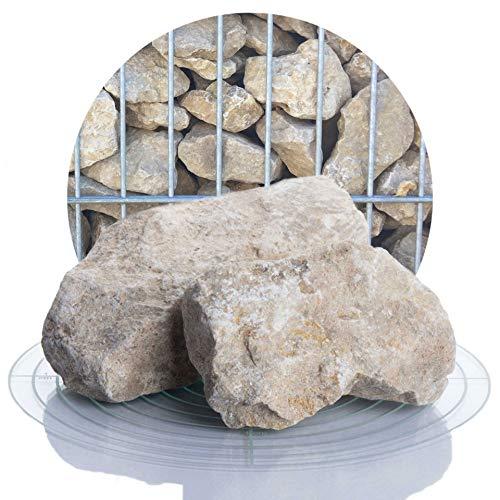 Schicker Mineral beige Kalk Gabionensteine 25 kg, Jura Kalkstein Gabionenfüllung Yellow Sun, 60-120 mm große Steine für Ihre Gabionen