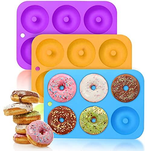Lot de 3 moules à donuts en silicone - 6 cavités - Anti-adhésif - Pour la cuisson de gâteaux, donuts, cupcakes, bagels - Passe au lave-vaisselle, four, micro-ondes, réfrigérateur - 3 couleurs