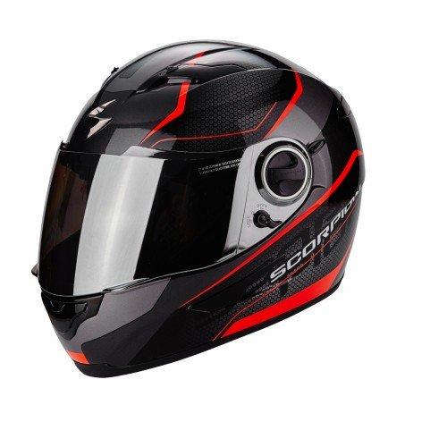 Scorpion Exo-490 Vision Casco moto, Nero / Rosso neon, XL