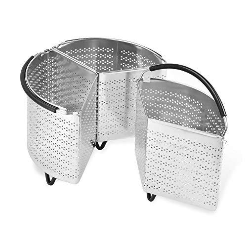 Inzetmand roestvrij staal, 3-delig gedeeld voor 6 Qt snelkookpan compatibel met snelkookpan, 3-in-1-zeefzetstuk kan voor IP 6 Quart koken