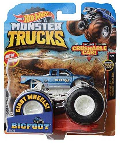 Hot Wheels Monster Trucks 1:64 Scale Bigfoot 21/75 Crushable car, Blue with White roll cage