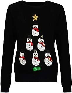 Christmas Women Sequin Applique Sweater Tops Crewneck Long Sleeve Casual Regular Fit Sweatshirts Pullover