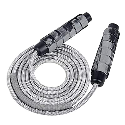 CDCASA Professional Jump Rope Workout, Tangle-Free with Ball Bearing Weighted Cotton Rope Adjustable Length for Cardio, Endurance Training, Fitness Workouts, Jumping Exercise