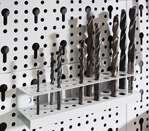Element System Werkzeugwand aus Metall plus 18 teiliges Werkzeughalterset inklusive Schrauben und Dübel, Lochwand zur Werkzeugaufbewahrung weiß - 5