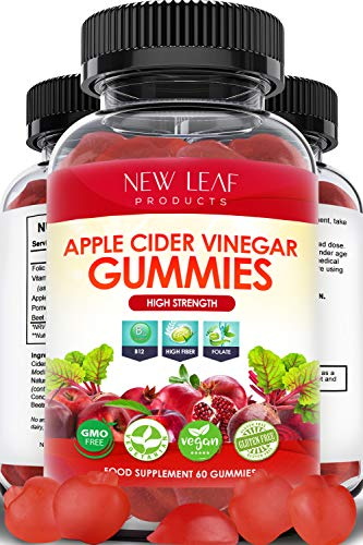 Apple Cider Vinegar Gummies High Strength - Vegan GMO-Free & Gluten-Free - Helps with Weight Loss - 1000mg ACV Enhanced with Vitamin B12 & Folate - Apple Cider Vinegar, 60 Gummy