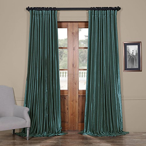 HPD Half Price Drapes PDCH-KBS14BO-96-DW Blackout Extra Wide Vintage Textured Faux Dupioni Curtain (1 Panel), 100 X 96, Peacock