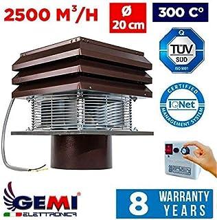 Gemi - Aspirador, extractor de humo, extractor de humos para chimenea, modelo Base