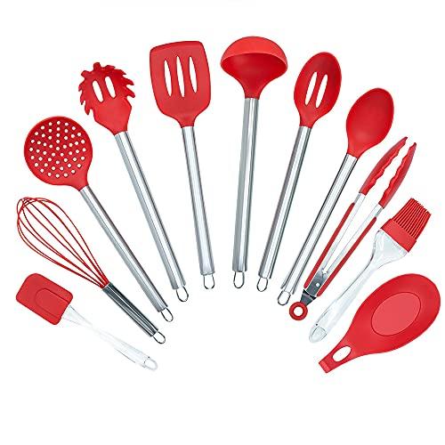 Jogo de Utensílios de Cozinha em Silicone e Inox 11 peças, Vermelho
