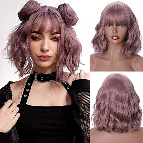 MISSQUEEN Short Wavy Wigs for Women,Synthetic Cute Purple Wavy Wigs with Bangs,14inch Natural Curly Synthetic Women Bob Wig(Purple)