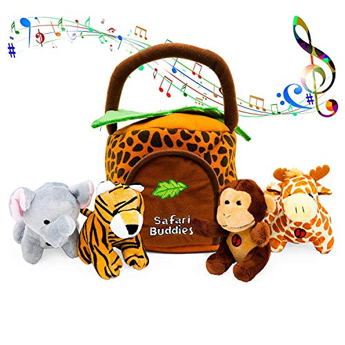 Gift for 1 Year Old Educational Plush Toy Talking Animal Set (5 Pcs - Plays Real Sounds) with Carrier for Kids | Stuffed Monkey, Giraffe, Tiger & Elephant | Safari Animals | Great