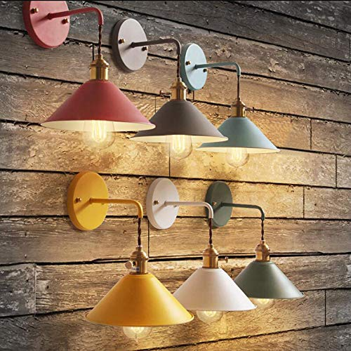 Plug-in Dimmable Wall Sconce Lamps Lighting Fixture Within-line Cord Dimmer Switch,White Macaron Wall lamp E26 Edison Copper lamp Holder with Matte Paint Body Bedside lamp Bathroom Vanity Lights