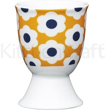 Preisvergleich für Kitchen Craft Eierbecher Blumen Retro aus Porzellan in orange, 12 x 17 x 22 cm